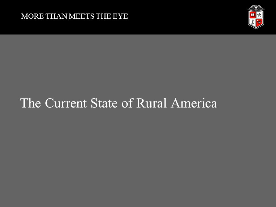 MORE THAN MEETS THE EYE The Current State of Rural America