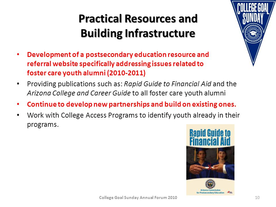 Practical Resources and Building Infrastructure Development of a postsecondary education resource and referral website specifically addressing issues related to foster care youth alumni (2010-2011) Providing publications such as: Rapid Guide to Financial Aid and the Arizona College and Career Guide to all foster care youth alumni Continue to develop new partnerships and build on existing ones.
