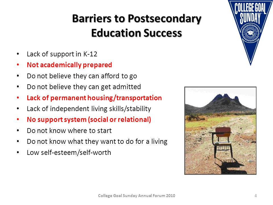 Barriers to Postsecondary Education Success Lack of support in K-12 Not academically prepared Do not believe they can afford to go Do not believe they can get admitted Lack of permanent housing/transportation Lack of independent living skills/stability No support system (social or relational) Do not know where to start Do not know what they want to do for a living Low self-esteem/self-worth College Goal Sunday Annual Forum 20104