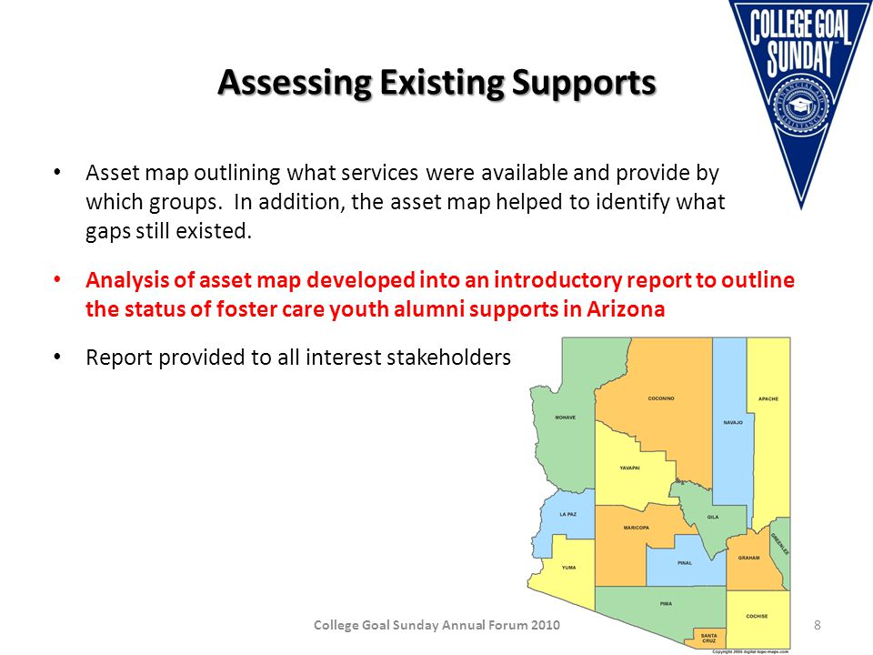 Expanding and Strengthening Supports Creation of the Southern Arizona Foster Care Youth Mentoring Program (2008) Creation of the Maricopa Community College District Foster Care Youth Mentoring Program (2010) On-going convening of stakeholders focused on collective action Development of a Campus Champion Network College Goal Sunday Annual Forum 20109