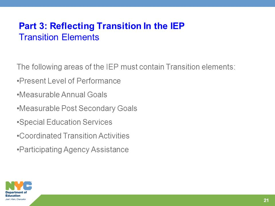 21 Part 3: Reflecting Transition In the IEP Transition Elements The following areas of the IEP must contain Transition elements: Present Level of Perf