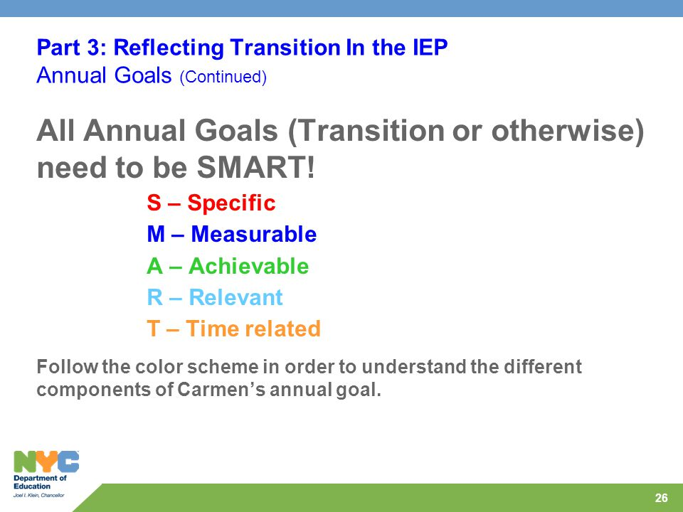 26 Part 3: Reflecting Transition In the IEP Annual Goals (Continued) All Annual Goals (Transition or otherwise) need to be SMART.