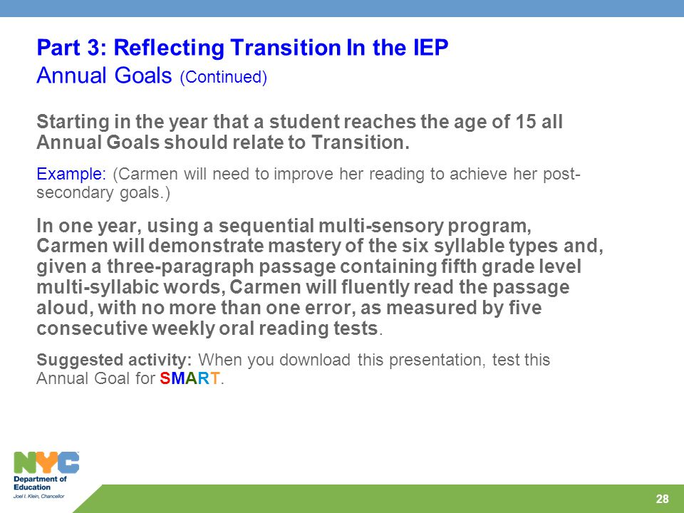 28 Part 3: Reflecting Transition In the IEP Annual Goals (Continued) Starting in the year that a student reaches the age of 15 all Annual Goals should relate to Transition.