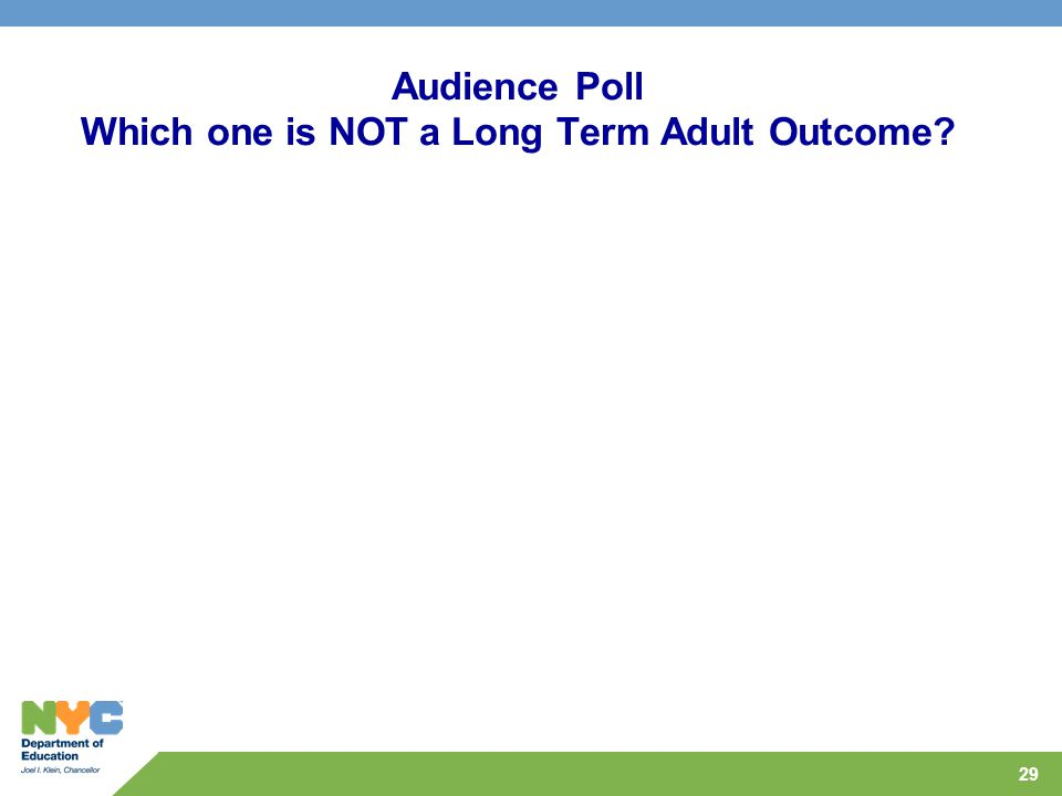 29 Audience Poll Which one is NOT a Long Term Adult Outcome