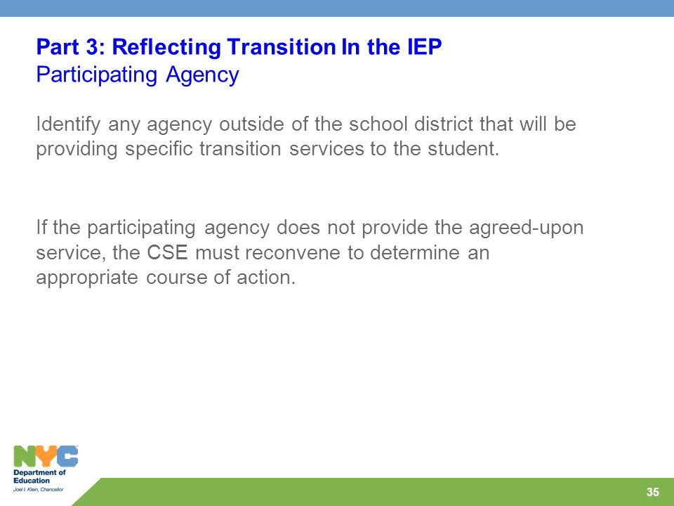 35 Part 3: Reflecting Transition In the IEP Participating Agency Identify any agency outside of the school district that will be providing specific transition services to the student.