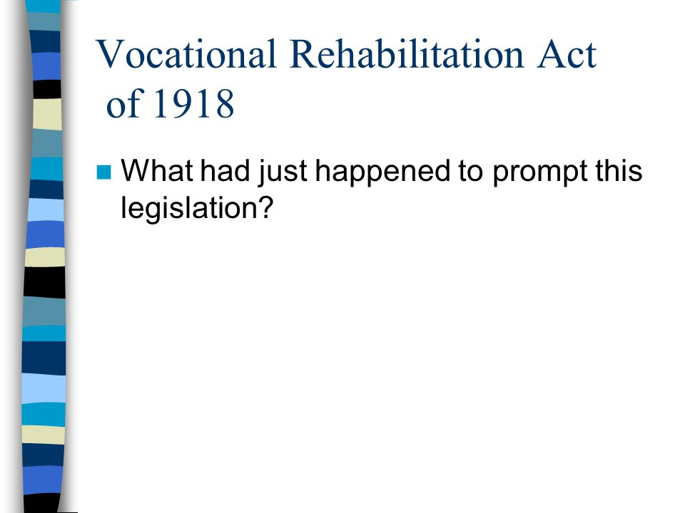 Vocational Rehabilitation Act of 1918 What had just happened to prompt this legislation?