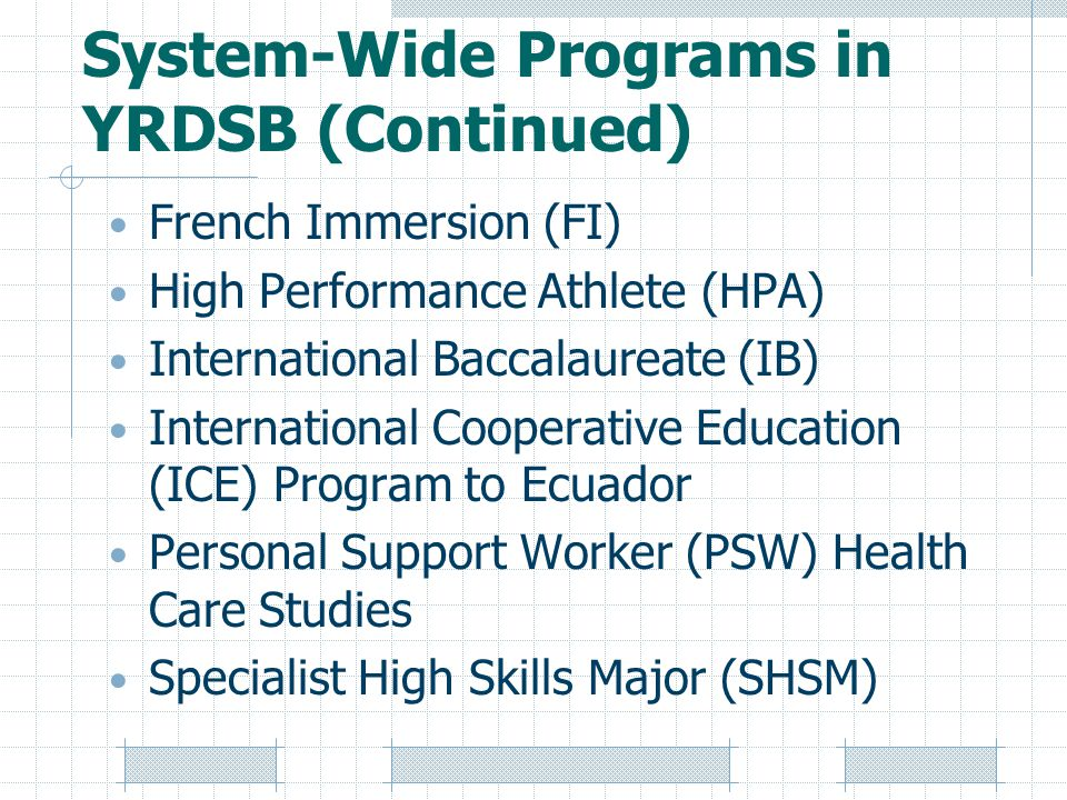 System-Wide Programs in YRDSB (Continued) French Immersion (FI) High Performance Athlete (HPA) International Baccalaureate (IB) International Cooperative Education (ICE) Program to Ecuador Personal Support Worker (PSW) Health Care Studies Specialist High Skills Major (SHSM)