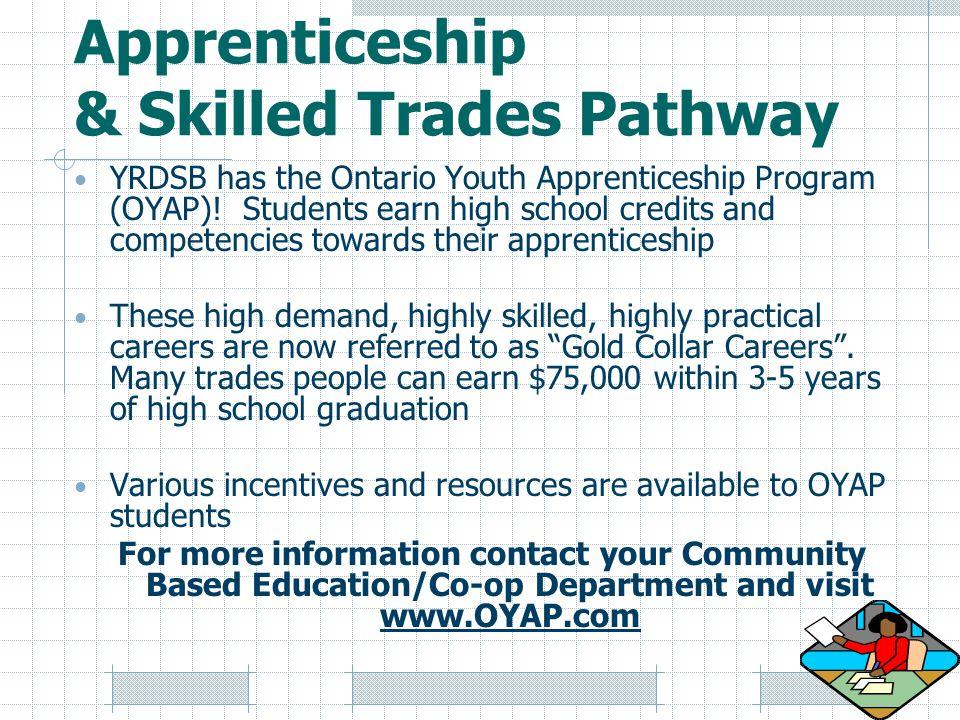 Apprenticeship & Skilled Trades Pathway YRDSB has the Ontario Youth Apprenticeship Program (OYAP).