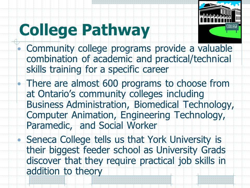 College Pathway Community college programs provide a valuable combination of academic and practical/technical skills training for a specific career There are almost 600 programs to choose from at Ontario's community colleges including Business Administration, Biomedical Technology, Computer Animation, Engineering Technology, Paramedic, and Social Worker Seneca College tells us that York University is their biggest feeder school as University Grads discover that they require practical job skills in addition to theory
