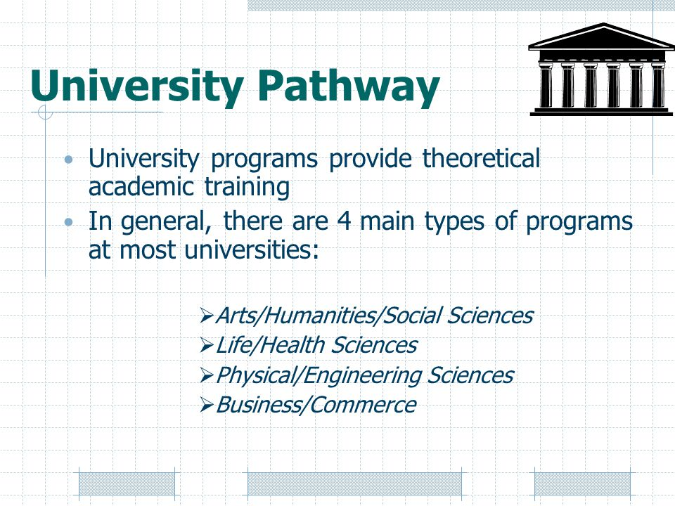 University Pathway University programs provide theoretical academic training In general, there are 4 main types of programs at most universities:  Arts/Humanities/Social Sciences  Life/Health Sciences  Physical/Engineering Sciences  Business/Commerce