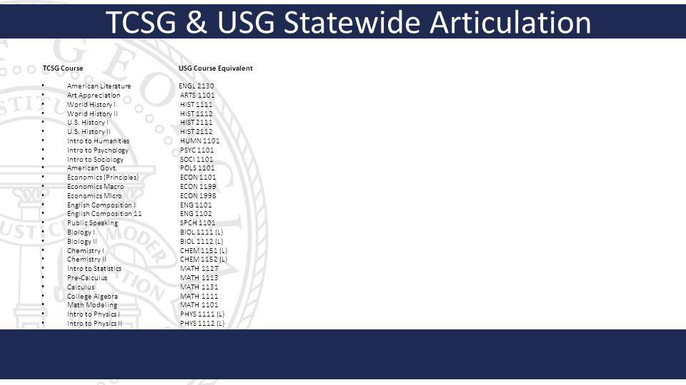 Georgia Department of Education Dual Enrollment Alliances – Statewide Articulation TCSG GA DOE Student Success