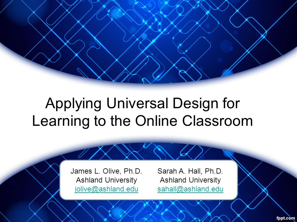 Multiple Means of Representation Learners differ in how they perceive and comprehend information presented to them –Allows students to make connections within, as well as between, concepts Provide the same information through different sensory modals Provide information in a format that will allow for adjustability by the user (CAST, 2013)