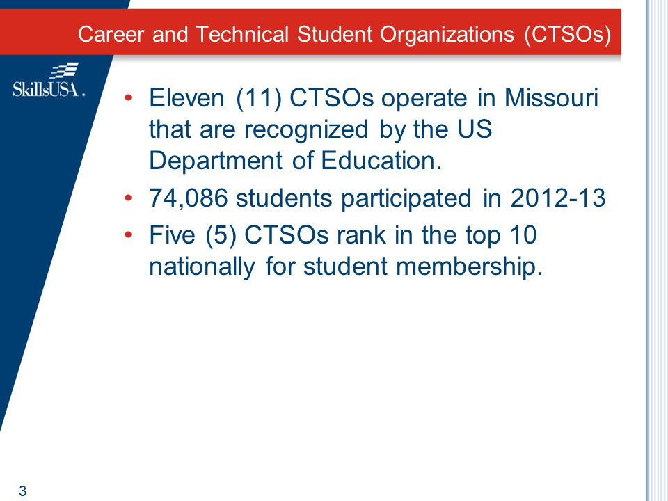Career and Technical Student Organizations (CTSOs) Eleven (11) CTSOs operate in Missouri that are recognized by the US Department of Education. 74,086