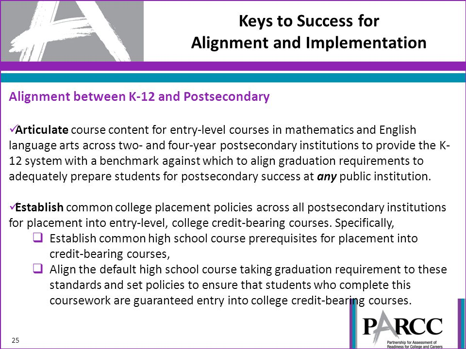 Keys to Success for Alignment and Implementation 25 Alignment between K-12 and Postsecondary Articulate course content for entry-level courses in mathematics and English language arts across two- and four-year postsecondary institutions to provide the K- 12 system with a benchmark against which to align graduation requirements to adequately prepare students for postsecondary success at any public institution.