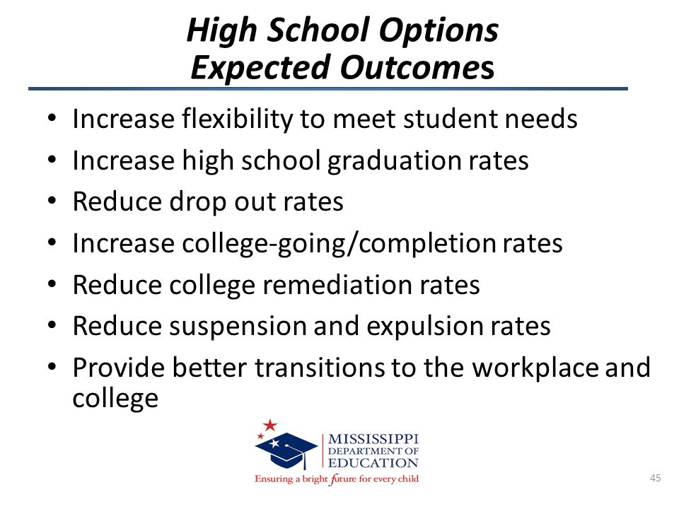 High School Options Expected Outcomes Increase flexibility to meet student needs Increase high school graduation rates Reduce drop out rates Increase college-going/completion rates Reduce college remediation rates Reduce suspension and expulsion rates Provide better transitions to the workplace and college 45