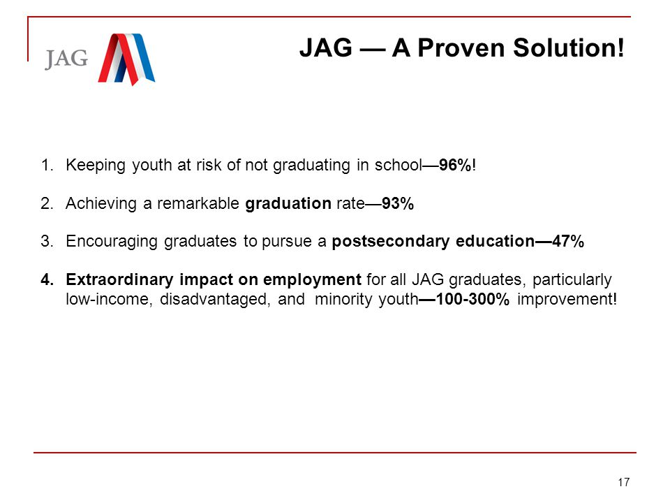 Briefing: Jobs for America's Graduates JAG — A Proven Solution.