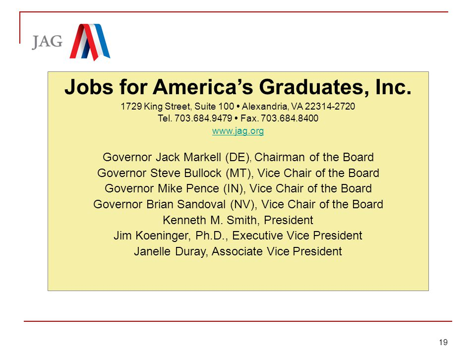 Briefing: Jobs for America's Graduates Jobs for America's Graduates, Inc.