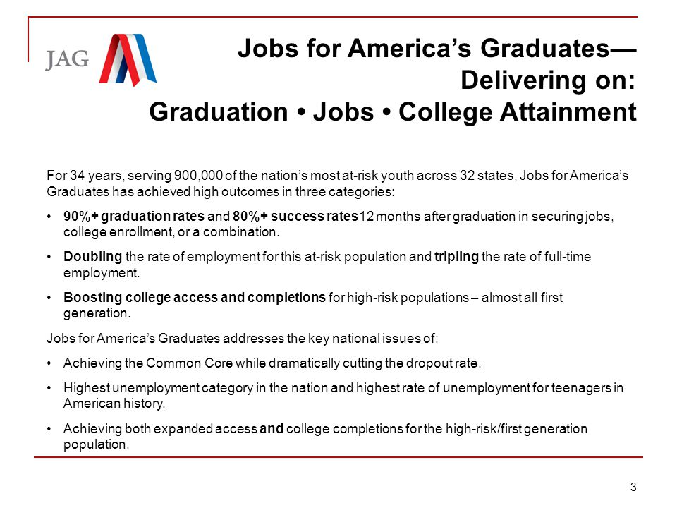 Briefing: Jobs for America's Graduates JAG Model in the Schools Specialists deployed in the schools—accountable for 35-45 students.
