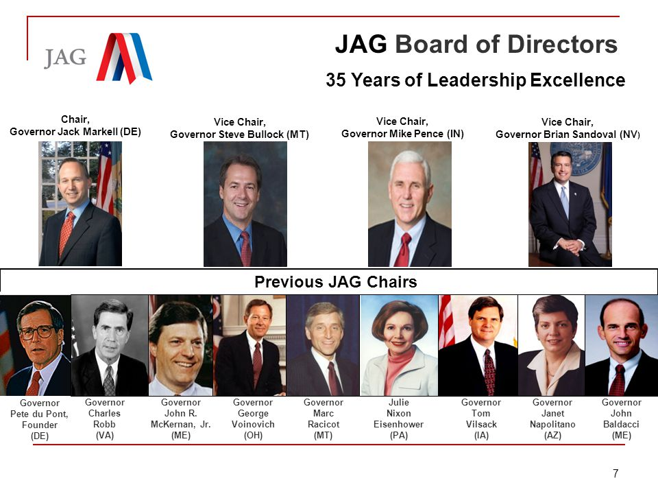 Briefing: Jobs for America's Graduates JAG Board of Directors 35 Years of Leadership Excellence Governor Pete du Pont, Founder (DE) Governor Charles Robb (VA) Governor John R.
