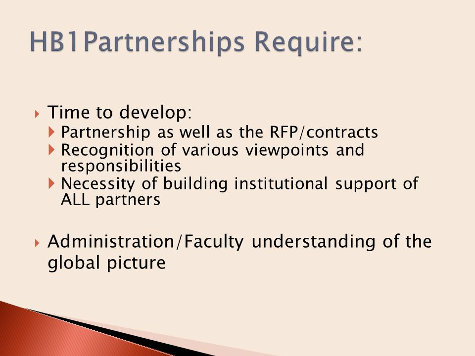  Time to develop:  Partnership as well as the RFP/contracts  Recognition of various viewpoints and responsibilities  Necessity of building institutional support of ALL partners  Administration/Faculty understanding of the global picture