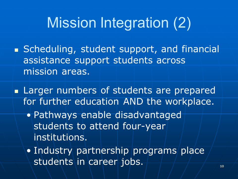 10 Mission Integration (2) Scheduling, student support, and financial assistance support students across mission areas. Larger numbers of students are