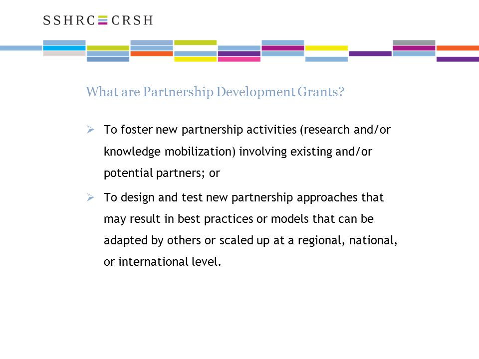 What are Partnership Development Grants.