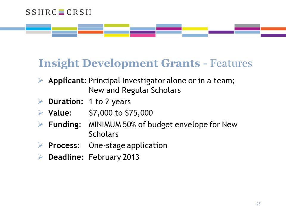 25 Insight Development Grants - Features  Applicant: Principal Investigator alone or in a team; New and Regular Scholars  Duration: 1 to 2 years  Value: $7,000 to $75,000  Funding: MINIMUM 50% of budget envelope for New Scholars  Process: One-stage application  Deadline: February 2013