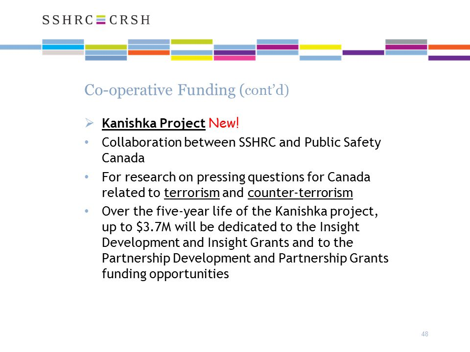 Co-operative Funding ( cont'd)  Kanishka Project New.