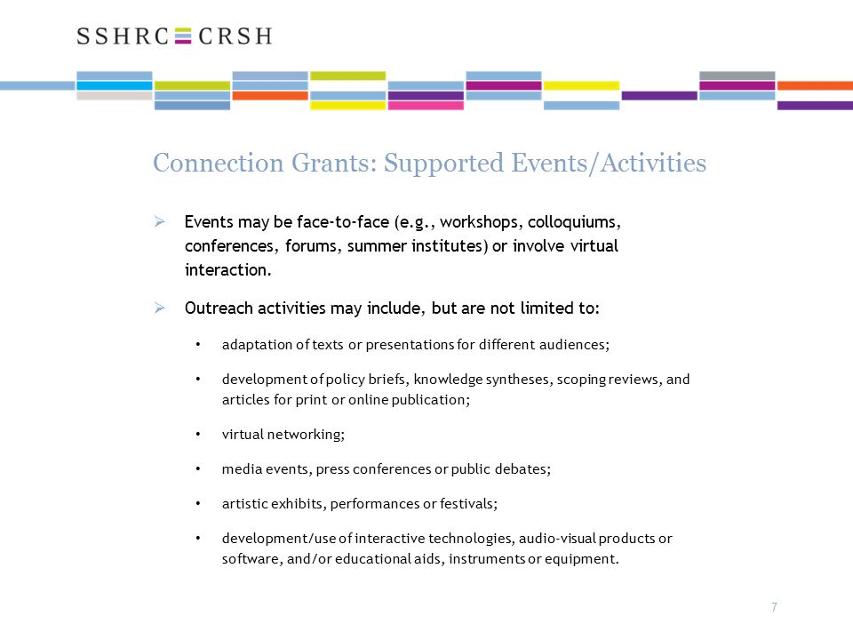 Connection Grants: Supported Events/Activities  Events may be face-to-face (e.g., workshops, colloquiums, conferences, forums, summer institutes) or involve virtual interaction.