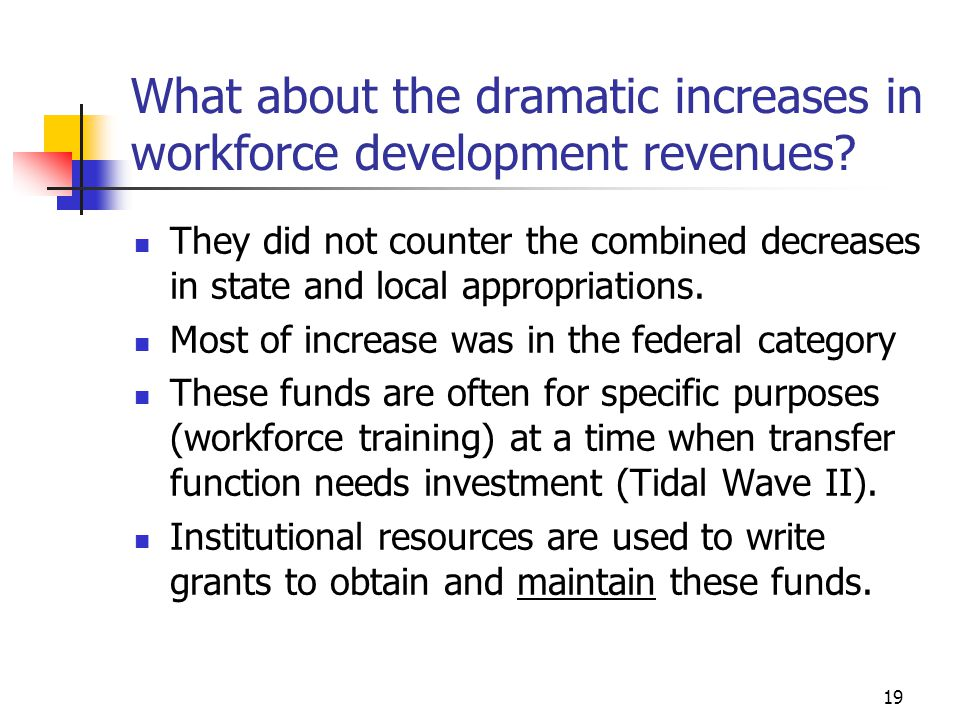 19 What about the dramatic increases in workforce development revenues? They did not counter the combined decreases in state and local appropriations.