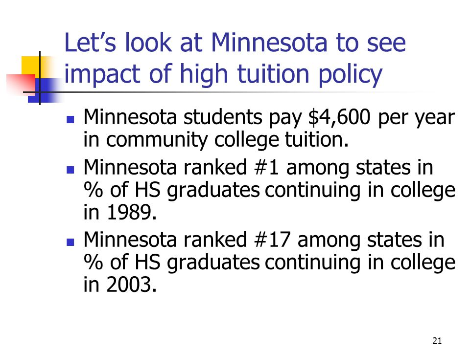 21 Let's look at Minnesota to see impact of high tuition policy Minnesota students pay $4,600 per year in community college tuition. Minnesota ranked