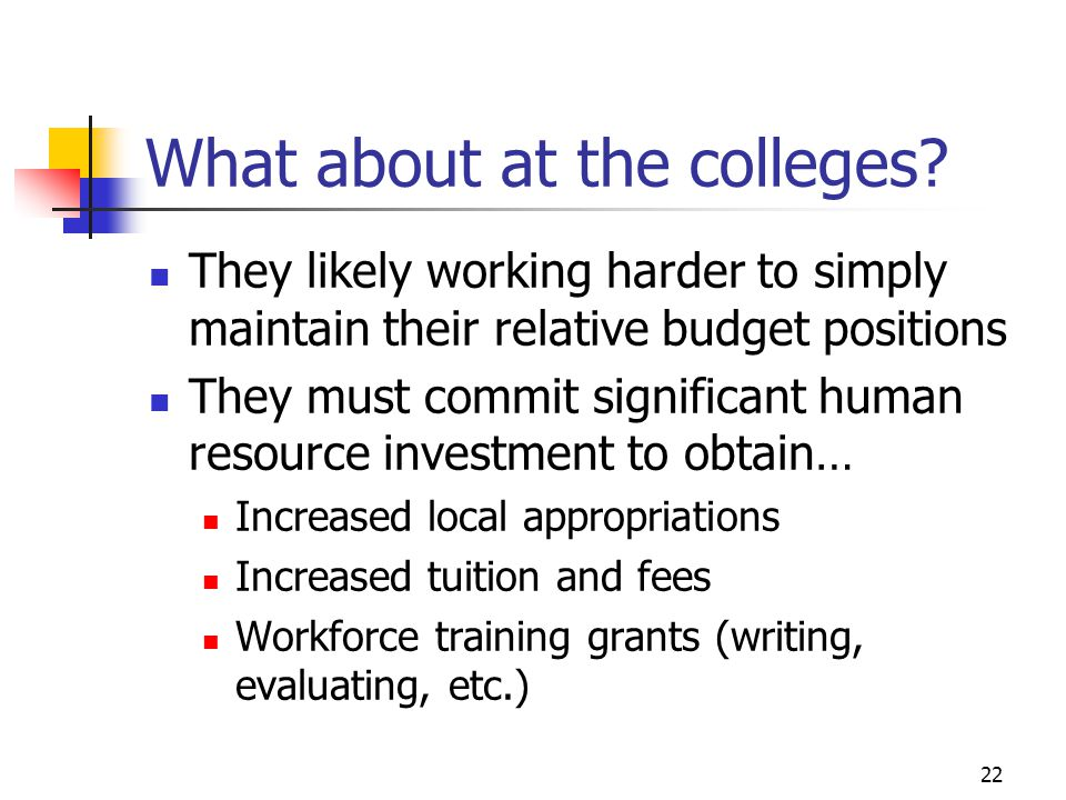 22 What about at the colleges? They likely working harder to simply maintain their relative budget positions They must commit significant human resour