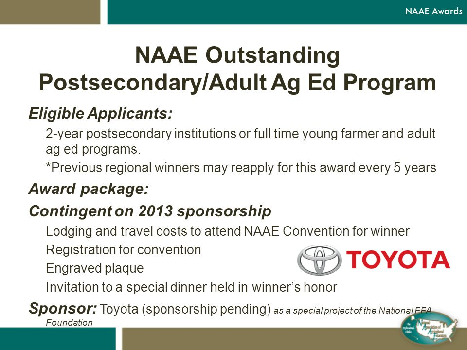 Eligible Applicants: 2-year postsecondary institutions or full time young farmer and adult ag ed programs.
