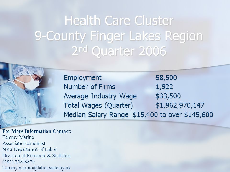 Health Care Cluster 9-County Finger Lakes Region 2 nd Quarter 2006 Employment58,500 Number of Firms1,922 Average Industry Wage$33,500 Total Wages (Quarter)$1,962,970,147 Median Salary Range$15,400 to over $145,600 For More Information Contact: Tammy Marino Associate Economist NYS Department of Labor Division of Research & Statistics (585) 258-8870 Tammy.marino@labor.state.ny.us