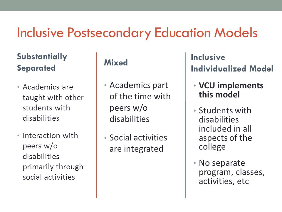 Inclusive Postsecondary Education Models Substantially Separated Academics are taught with other students with disabilities Interaction with peers w/o disabilities primarily through social activities Mixed Inclusive Individualized Model Academics part of the time with peers w/o disabilities Social activities are integrated VCU implements this model Students with disabilities included in all aspects of the college No separate program, classes, activities, etc