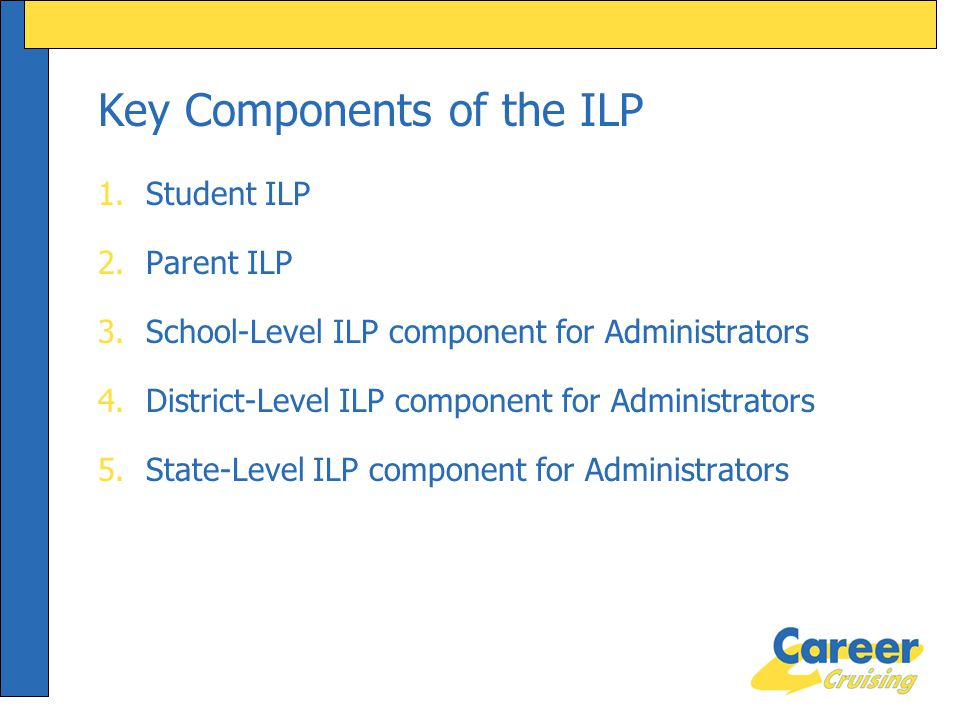 Key Components of the ILP 1.Student ILP 2.Parent ILP 3.School-Level ILP component for Administrators 4.District-Level ILP component for Administrators