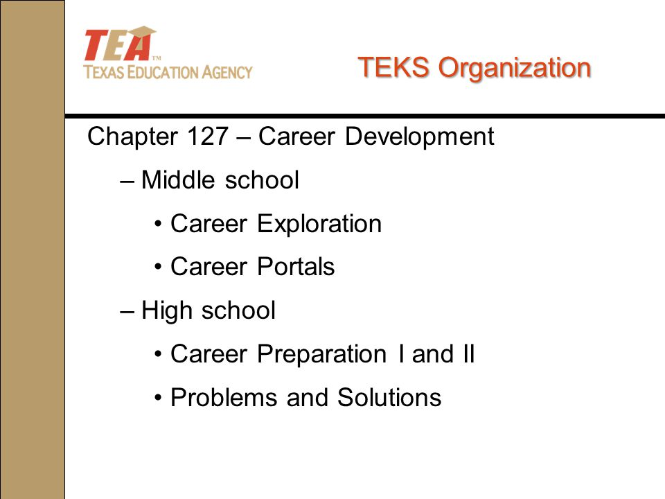 TEKS Organization Chapter 127 – Career Development –Middle school Career Exploration Career Portals –High school Career Preparation I and II Problems and Solutions