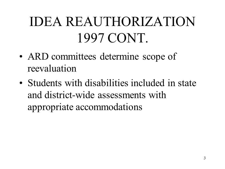 3 IDEA REAUTHORIZATION 1997 CONT.
