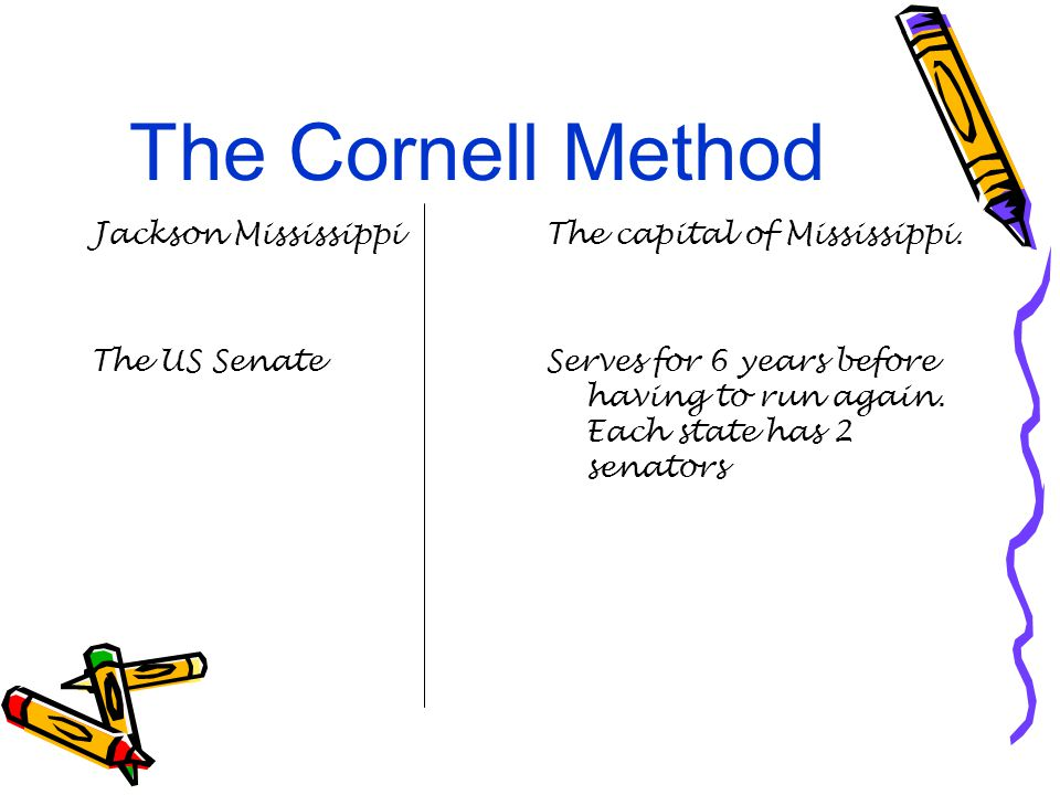 The Cornell Method Jackson Mississippi The US Senate The capital of Mississippi.