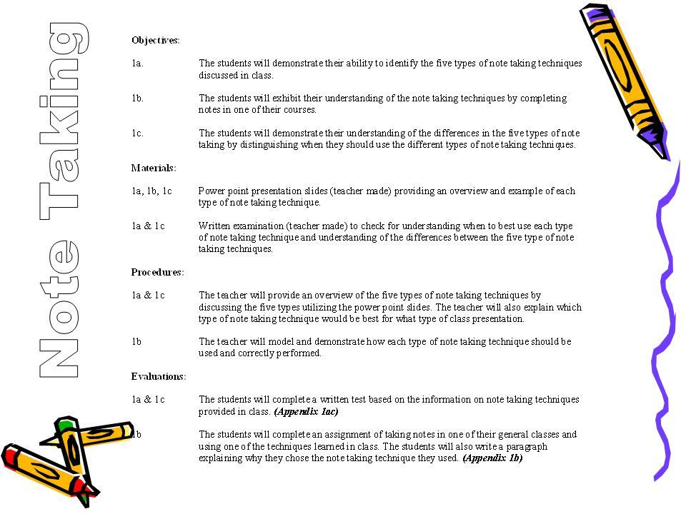 Note Taking The Cornell Method The Outline Method The Mapping Method The Charting Method The Sentence Method