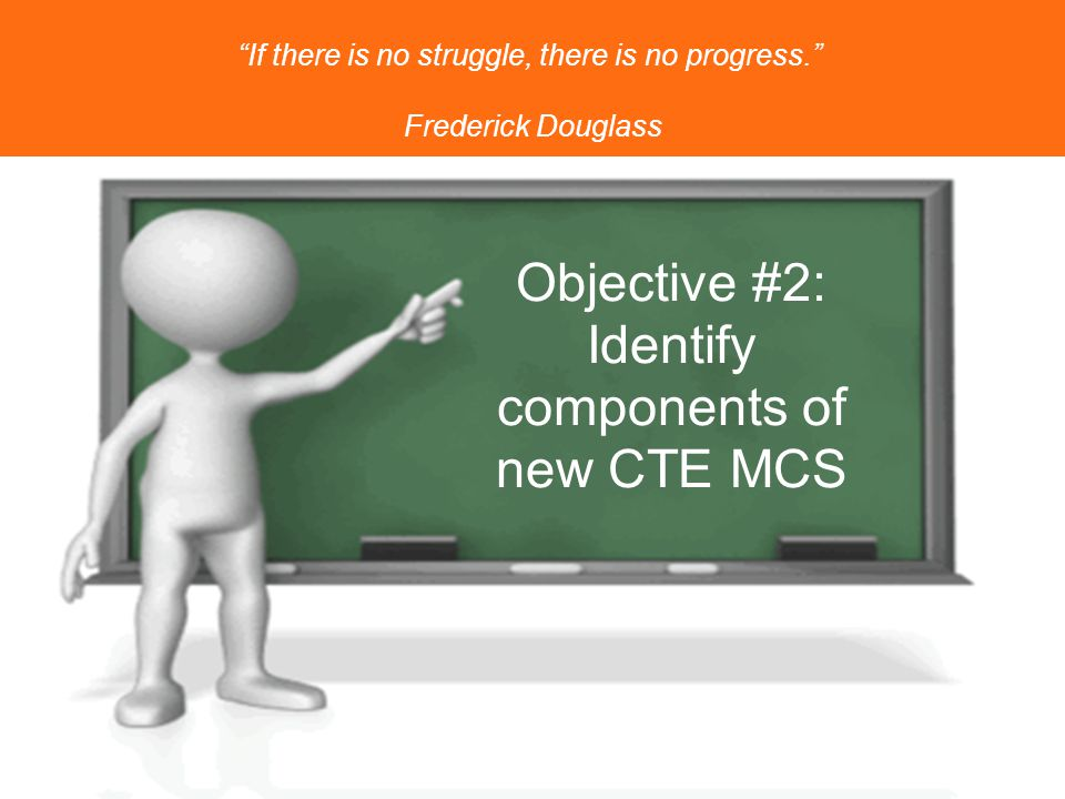 Objective #2: Identify components of new CTE MCS If there is no struggle, there is no progress. Frederick Douglass