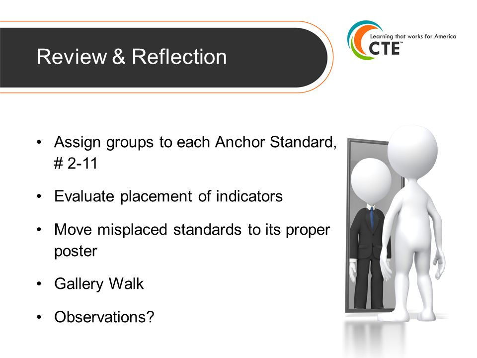 Review & Reflection Assign groups to each Anchor Standard, # 2-11 Evaluate placement of indicators Move misplaced standards to its proper poster Gallery Walk Observations?