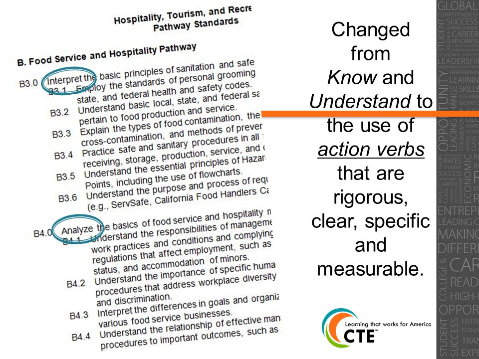 32 Changed from Know and Understand to the use of action verbs that are rigorous, clear, specific and measurable.