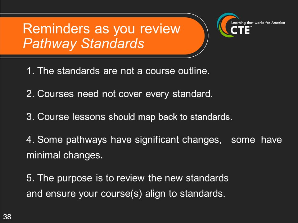 Reminders as you review Pathway Standards 1.The standards are not a course outline.
