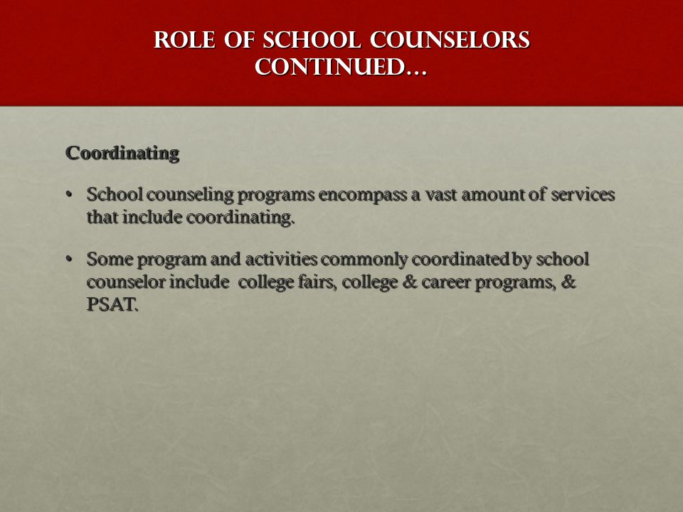 Coordinating School counseling programs encompass a vast amount of services that include coordinating.School counseling programs encompass a vast amou