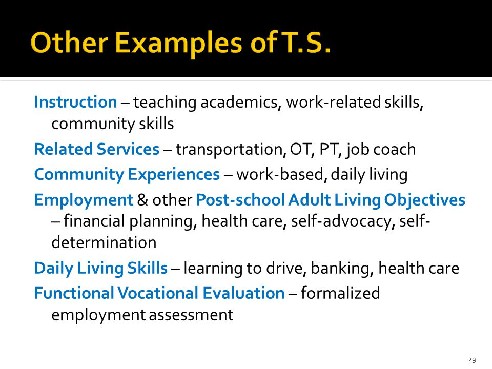 Instruction – teaching academics, work-related skills, community skills Related Services – transportation, OT, PT, job coach Community Experiences – w
