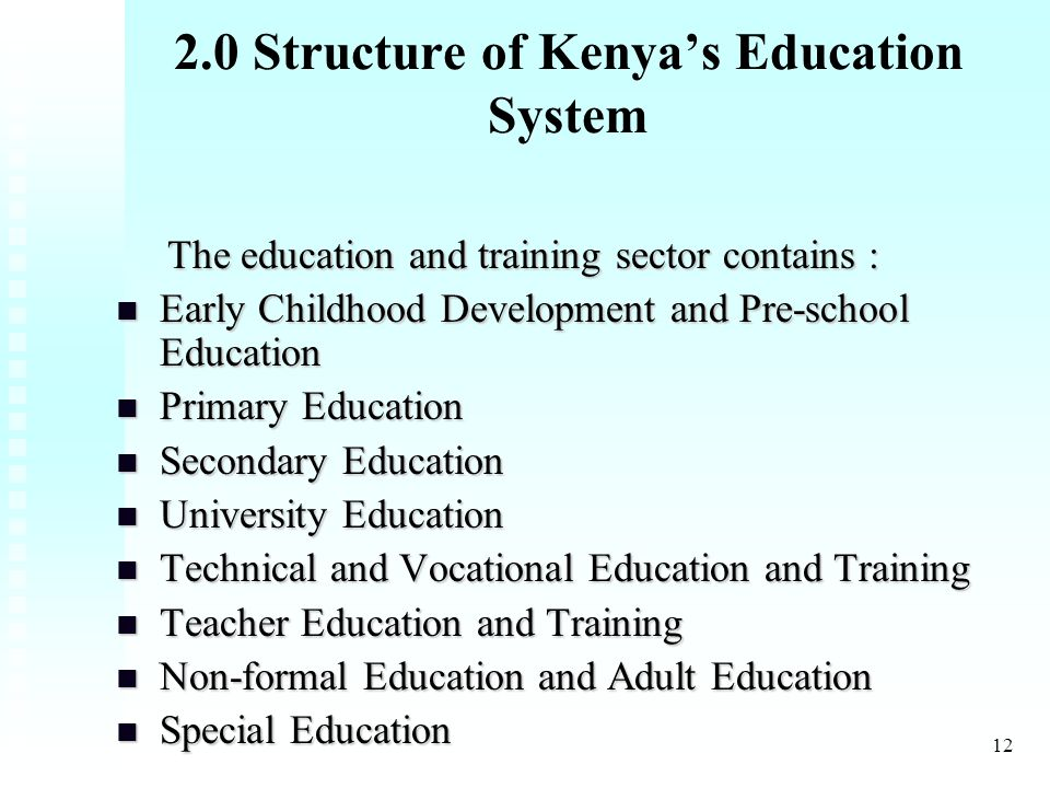12 2.0 Structure of Kenya's Education System The education and training sector contains : The education and training sector contains : Early Childhood Development and Pre-school Education Early Childhood Development and Pre-school Education Primary Education Primary Education Secondary Education Secondary Education University Education University Education Technical and Vocational Education and Training Technical and Vocational Education and Training Teacher Education and Training Teacher Education and Training Non-formal Education and Adult Education Non-formal Education and Adult Education Special Education Special Education