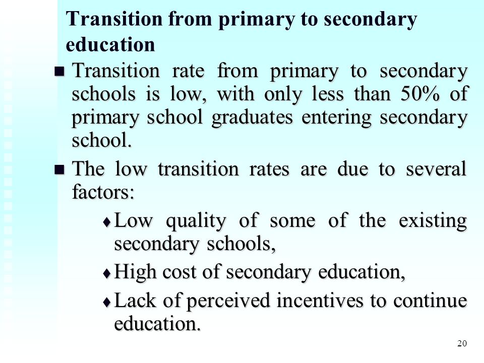 20 Transition from primary to secondary education Transition rate from primary to secondary schools is low, with only less than 50% of primary school graduates entering secondary school.