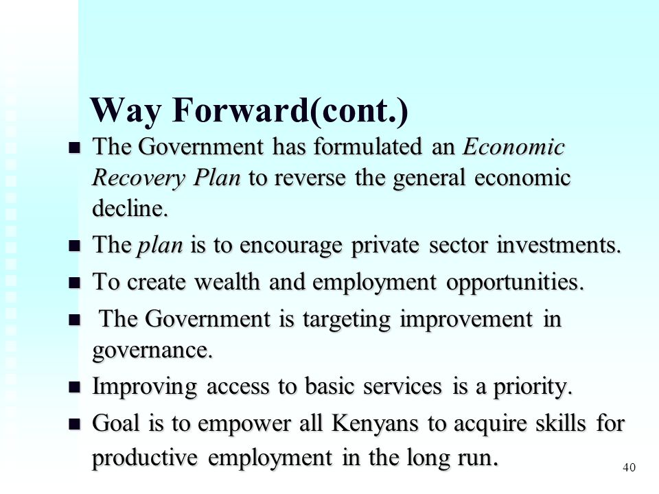 40 Way Forward(cont.) The Government has formulated an Economic Recovery Plan to reverse the general economic decline.