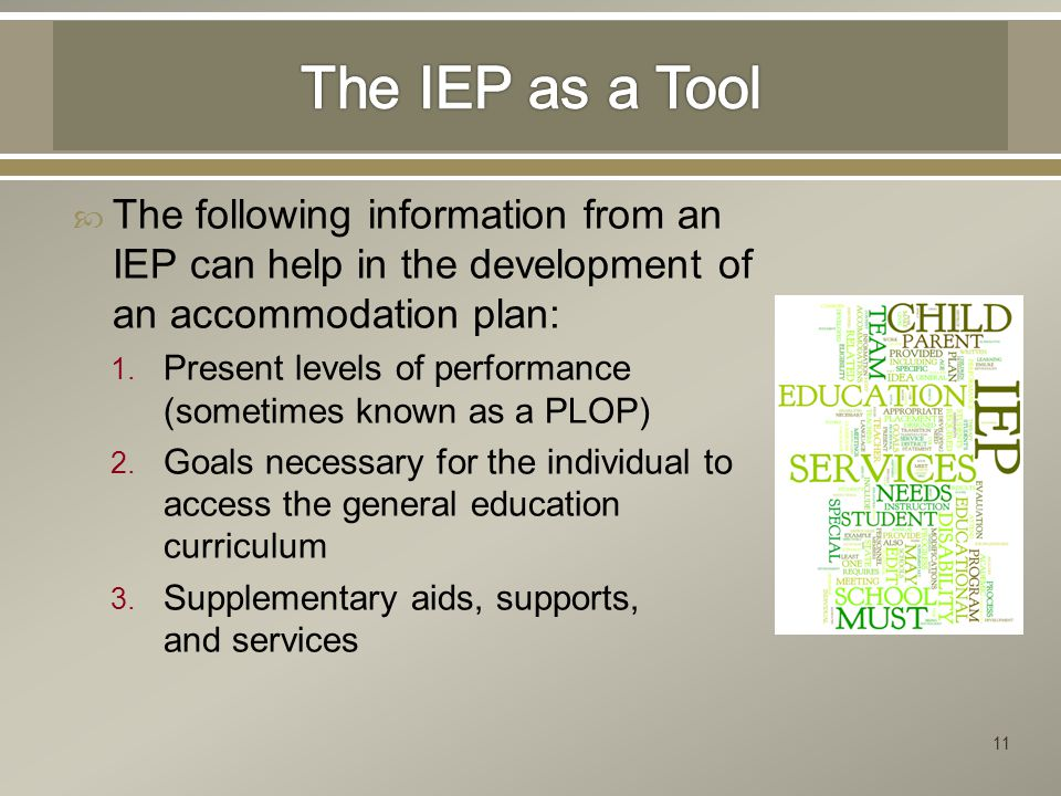  The following information from an IEP can help in the development of an accommodation plan: 1.